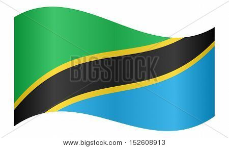 Tanzanian national official flag. African patriotic symbol banner element background. Correct colors. Flag of Tanzania waving on white background vector illustration