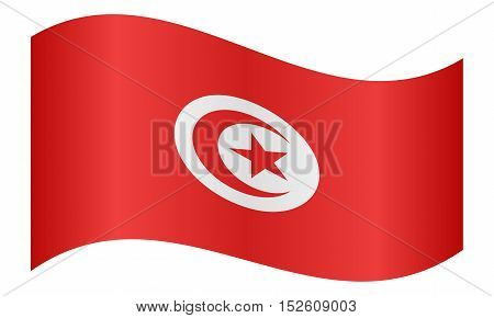 Tunisian national official flag. African patriotic symbol banner element background. Correct colors. Flag of Tunisia waving on white background vector illustration