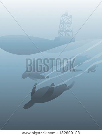 Sea Life Lighthouse Vector Concept
