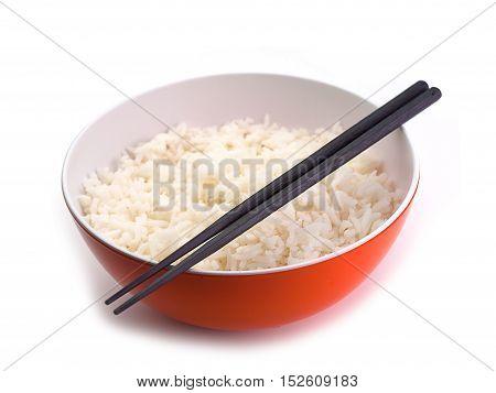 bowl full of rice on white white background.