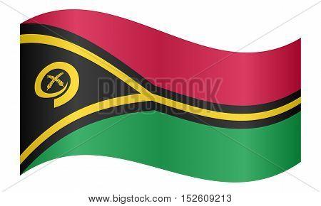Vanuatuan national official flag. Patriotic symbol banner element background. Correct colors. Flag of Vanuatu waving on white background vector illustration