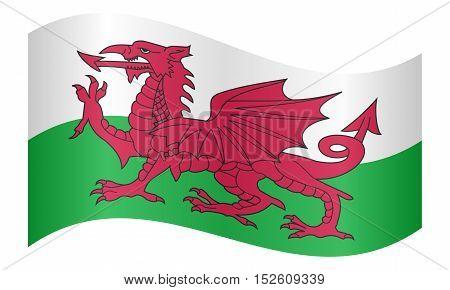 Welsh national official flag. Patriotic symbol banner element background. Correct colors. Flag of Wales waving on white background vector illustration