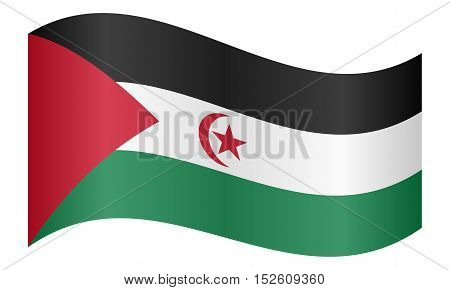 Sahrawi national official flag. Western Sahara patriotic symbol. SADR banner element background. Correct colors. Flag of Sahrawi Arab Democratic Republic waving white background vector illustration