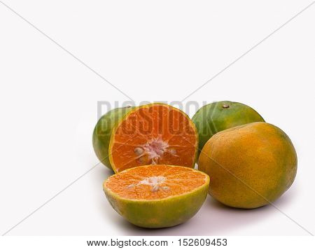 Group of fresh oranges Placed on a white background.