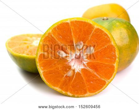 Closeup Group of fresh oranges Placed on a white background.