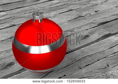 rendered red silver Christmas bauble on the old dried rough planks, 3d rendering