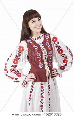 Smiling Brunette Woman Posing in Unique Hand-Made Belarus National Costume Dress. Against Pure White Background. Vertical Shot