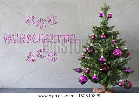 Christmas Tree With Purple Christmas Tree Balls. Card For Seasons Greetings. Gray Cement Or Concrete Wall For Urban, Modern Industrial Styl. German Text Adventszeit Means Advent Seasons