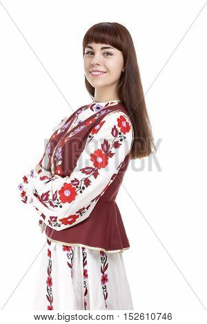 Brunette Woman Posing in Unique Hand-Made Belarus National Costume Dress. Against Pure White Background. Vertical Image Orientation