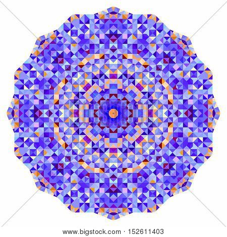 Abstract colorful circle backdrop. Mosaic round banner of blue violet red orange yellow white color geometric shapes