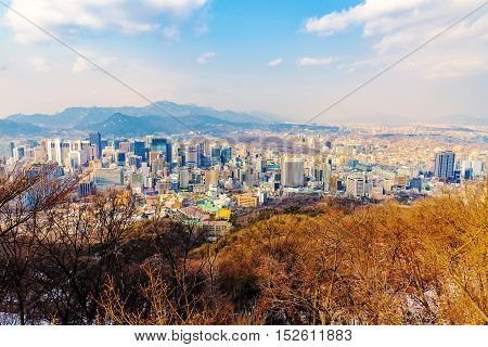 high viewpoint of Seoul from Namsan mountain in the winter