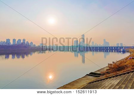 beautiful view of the Han river and buildings