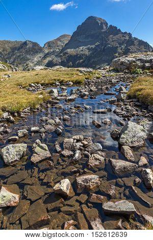 Amazing view of Orlovets peak from Elenski lakes, Rila Mountain, Bulgaria
