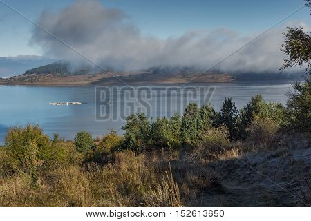 Autumn panorama of Batak Reservoir, Pazardzhik Region, Bulgaria