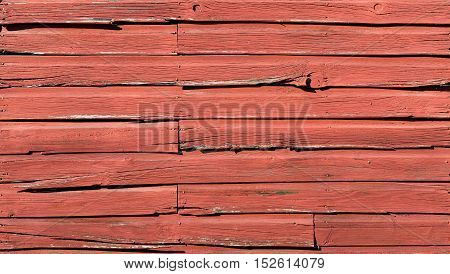 Rough Condition Weathered Faded Red Barn Board Siding with Splits and Cracks