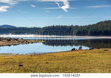 Panoramic view of Shiroka polyana Reservoir, Pazardzhik Region, Bulgaria