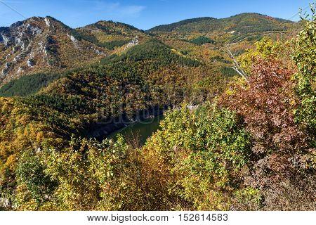 Amazing Autumn Landscape of Tsankov kamak Reservoir, Smolyan Region, Bulgaria