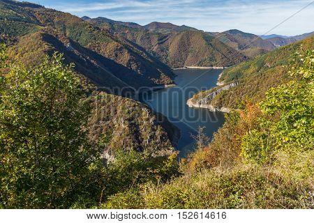 Autumn Panoramic view of Tsankov kamak Reservoir, Smolyan Region, Bulgaria
