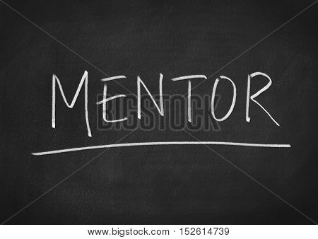 Mentor concept word text on blackboard background