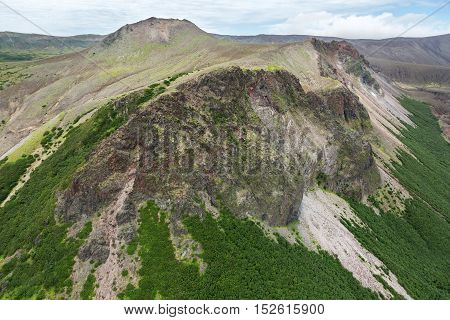 Caldera volcano Ksudach. South Kamchatka Nature Park. View from the helicopter.