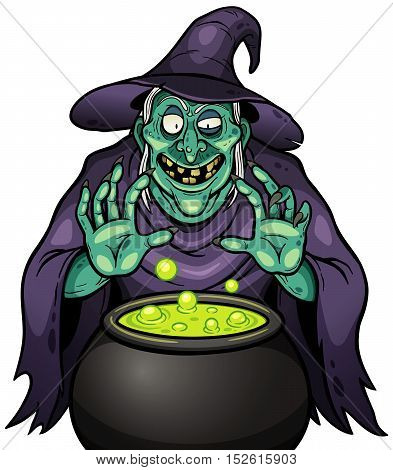 Vector illustration of Cartoon Witch with cauldron
