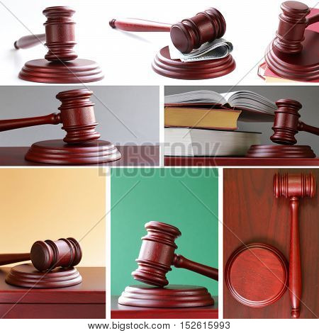 collage set Judges wooden gavel on a stand
