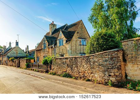 Exterior view of Traditional townhouses in Cotswolds United Kingdom