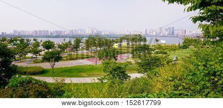 Panorama of Han river park in Seoul
