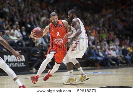 VALENCIA, SPAIN - OCTOBER 19th: Diot with ball during Eurocup match between Valencia Basket and Hapoel Bank Yahav Jerusalem at Fonteta Stadium on October 19, 2016 in Valencia, Spain
