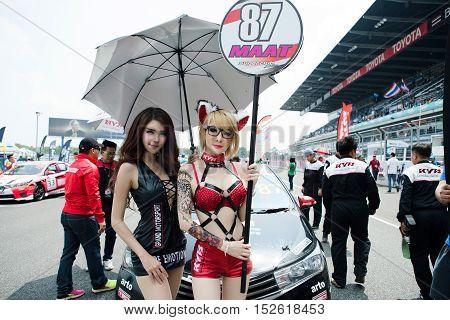 BURIRAM THAILAND - October 9 2016: Race Support Toyata Motorsport in Super GT Series 2016 round 7 in Thailand at Chang International Circuit in Buriram United.