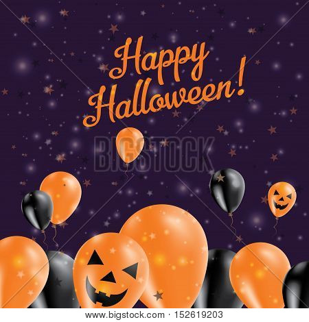 Halloween Balloons Bottom Greeting Card. Black And Orange Colored All Saints Day Poster. Vector Illu