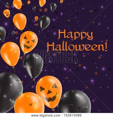 Halloween Balloons Left Greeting Card. Black And Orange Colored All Saints Day Poster. Vector Illust