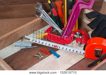 Close Up Woking Tools Concepts, Carpentry Construction Hardware Tools In The Box. Set Of Working Too