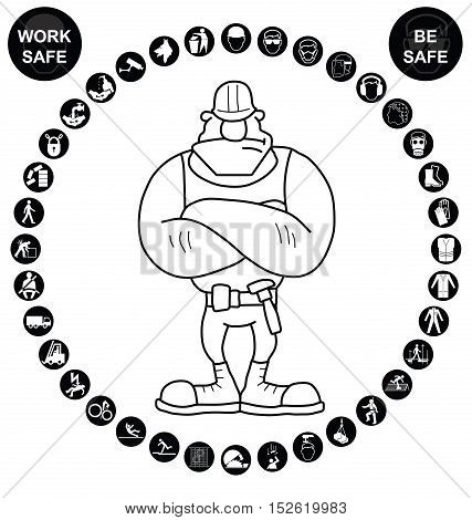 Black construction manufacturing and engineering health and safety related circular icon collection isolated on white background with work safe message