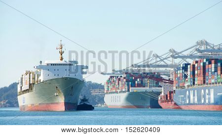 Oakland CA - September 27 2016: Matson Cargo Ship KAUAI entering the Port of Oakland the fifth busiest port in the United States.
