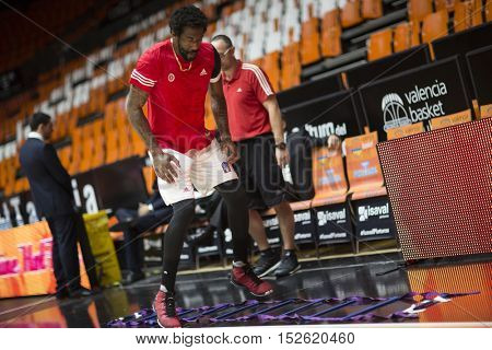 VALENCIA, SPAIN - OCTOBER 19th: Amare Stoudemire during Eurocup match between Valencia Basket and Hapoel Bank Yahav Jerusalem at Fonteta Stadium on October 19, 2016 in Valencia, Spain