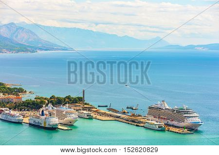 SPLIT CROATIA - SEPTEMBER 17: This is a high view of the Harbor of Split with cruise ships and the mediterranean ocean on September 17 2016 in Split