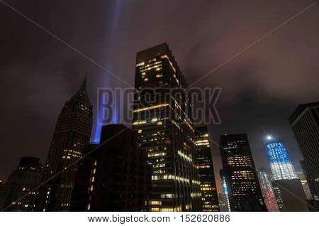 The Tribute in Lights alongside the World Trade Center in downtown Manhattan New York City.