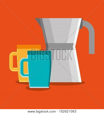 Coffee mug and kettle icon. Coffee shop drink beverage and restaurant theme. Vector illustration