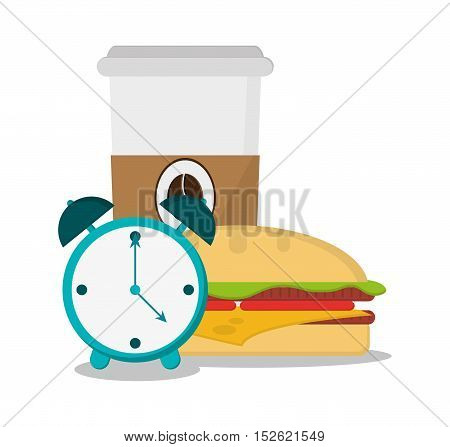 Coffee clock and sandwich icon. Breakfast fresh product and market theme. Colorful design. Vector illustration