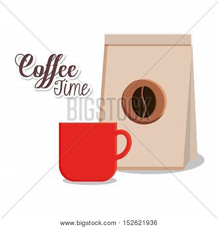 Coffee mug and bag icon. Coffee shop drink beverage and restaurant theme. Vector illustration