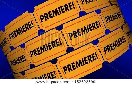 Premiere Tickets New Movie Product Launch Announcement 3d Illustration