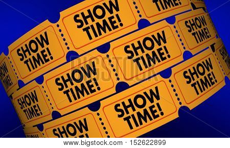 Showtime Movie Tickets Play Performance Admission 3d Illustration