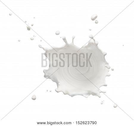 swirling milk splash isolated on white background