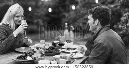 Couple Love Drinking Wine Concept