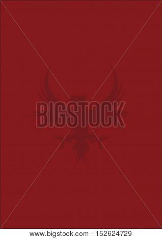 Background with heraldic eagle. Armorial, Armory, Burgundy shield. Heraldic red background. The red and the black. Red background for text. Eagle.