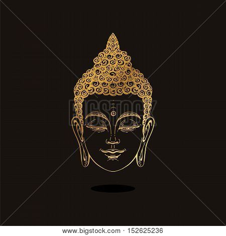 Portrait of a Gold Buddha. Vector illustration on black background. Esoteric concept spiritual art. Thai god. Excellent ethnic print on a T-shirt.