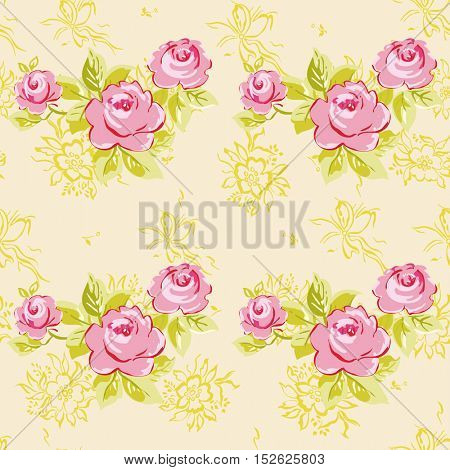 Seamless floral pattern with watercolor rose roses Vector Illustration EPS8