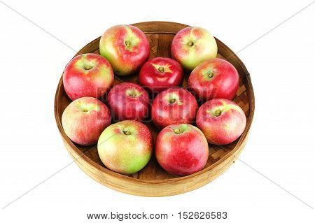 fresh picked apples in the bamboo tray
