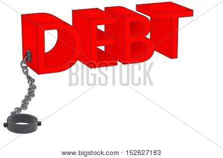 A 3D rendering of the word debt attached to a manacle.
